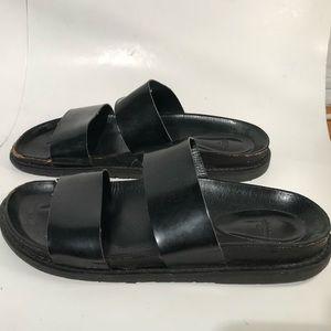 Trafaluc Black Leather Slide Sandals Double Strap